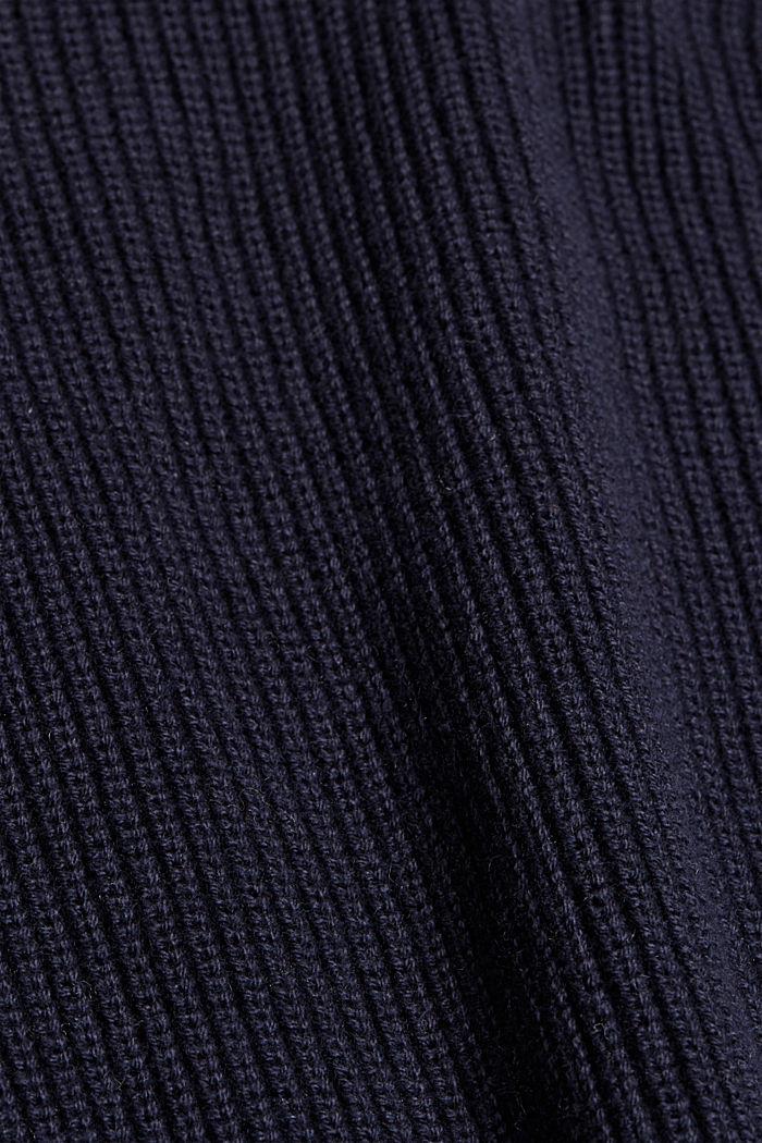 Con lana y cachemir: jersey de algodón ecológico, NAVY, detail image number 4