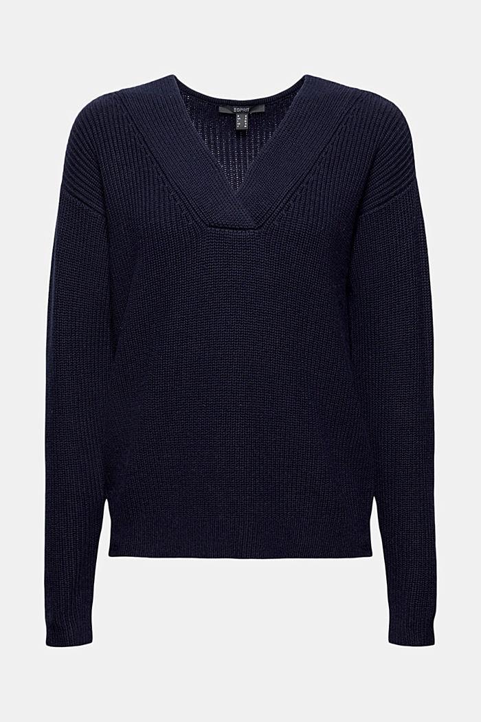 Con lana y cachemir: jersey de algodón ecológico, NAVY, detail image number 5