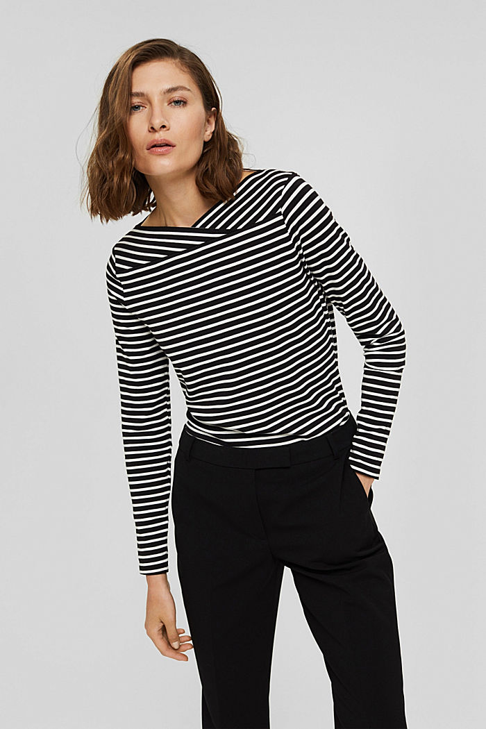Van TENCEL™/modal: gestreept shirt, BLACK, detail image number 0