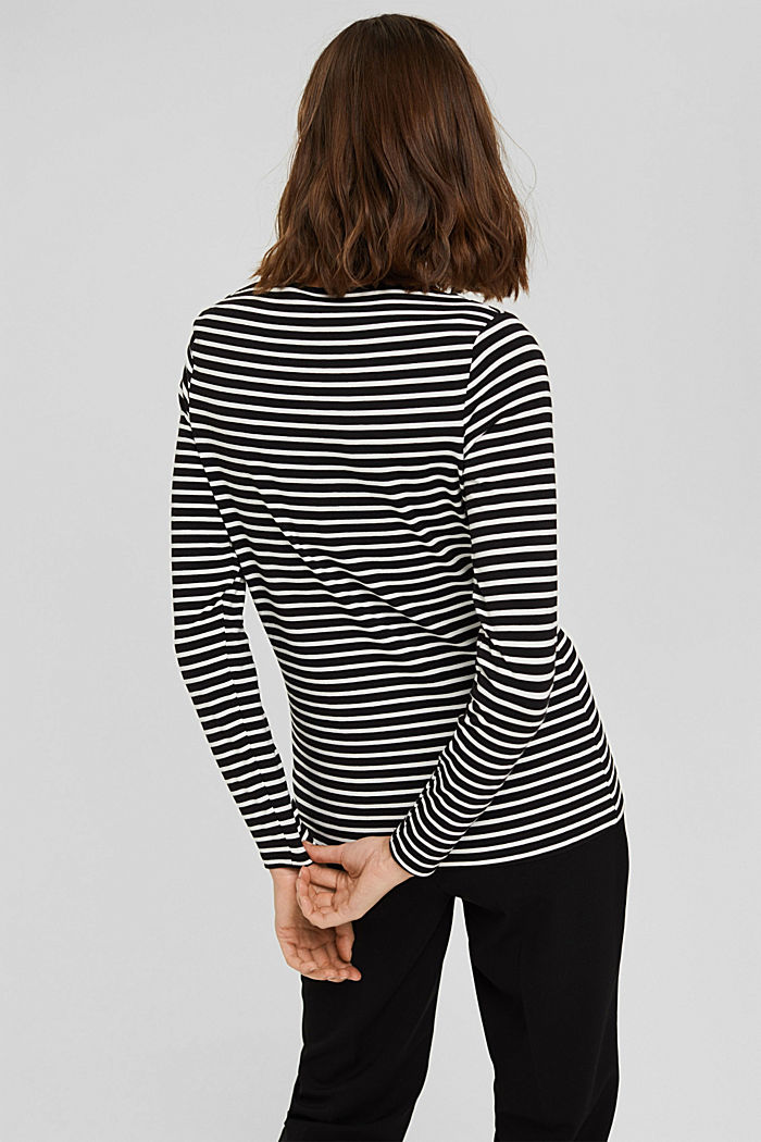 Van TENCEL™/modal: gestreept shirt, BLACK, detail image number 3