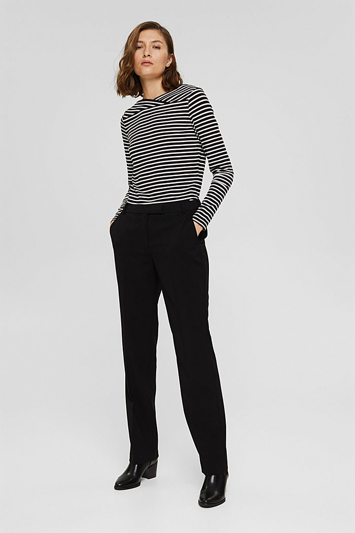 Van TENCEL™/modal: gestreept shirt, BLACK, detail image number 1