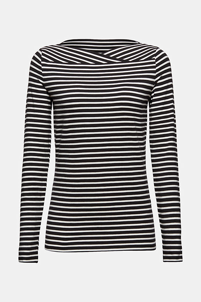 Van TENCEL™/modal: gestreept shirt, BLACK, detail image number 5