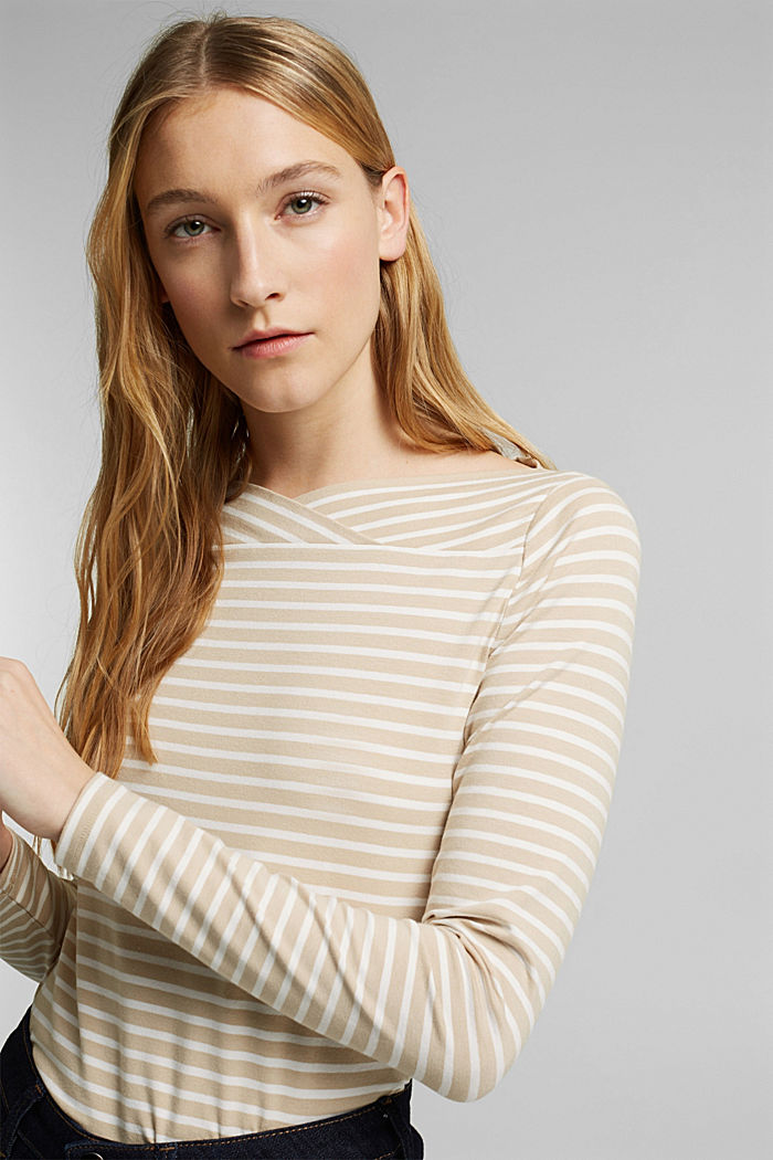 In a TENCEL™/ modal blend: Striped shirt, SAND, detail image number 5
