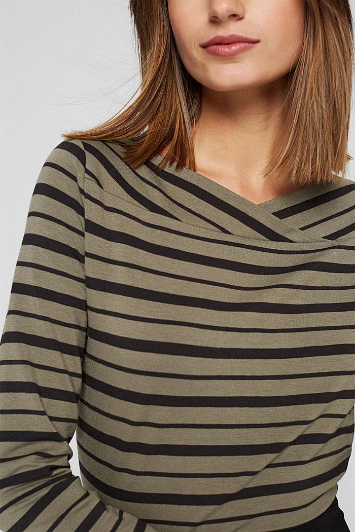 En TENCEL™/mezcla de modal: camiseta a rayas, DARK KHAKI, detail image number 2