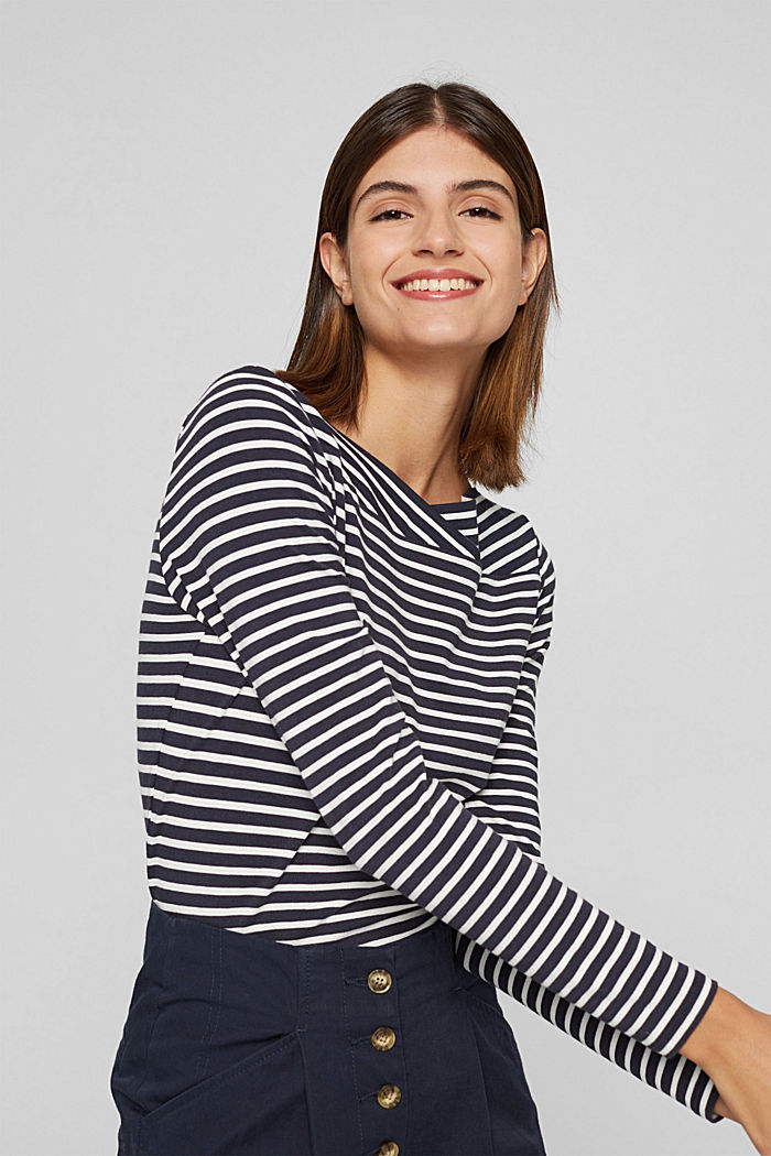 In a TENCEL™/ modal blend: Striped shirt, NAVY, detail image number 0