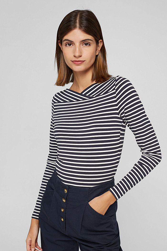 In a TENCEL™/ modal blend: Striped shirt, NAVY, detail image number 5