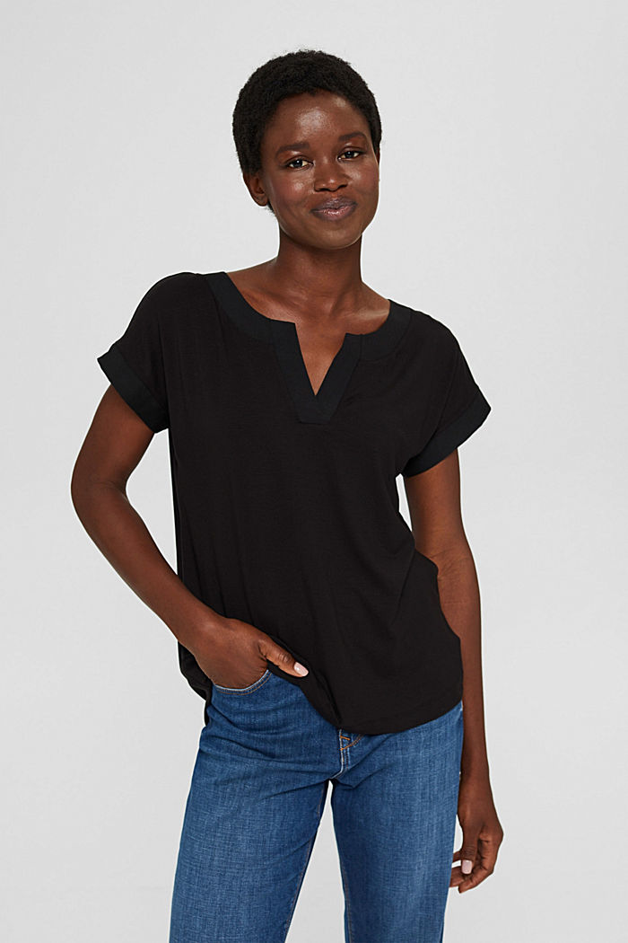T-Shirt mit Lyocell und Chiffon-Details, BLACK, detail image number 0