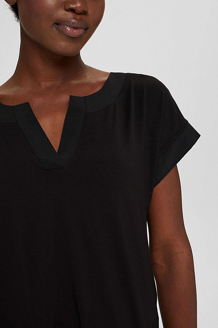 T-Shirt mit Lyocell und Chiffon-Details, BLACK, detail image number 2