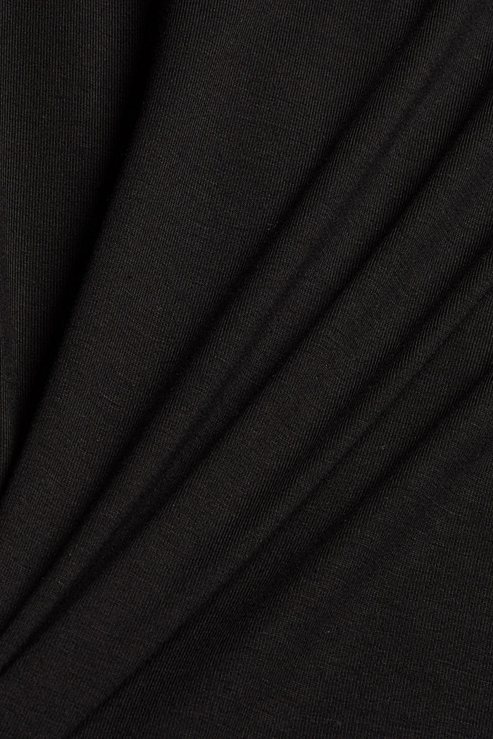 T-Shirt mit Lyocell und Chiffon-Details, BLACK, detail image number 4