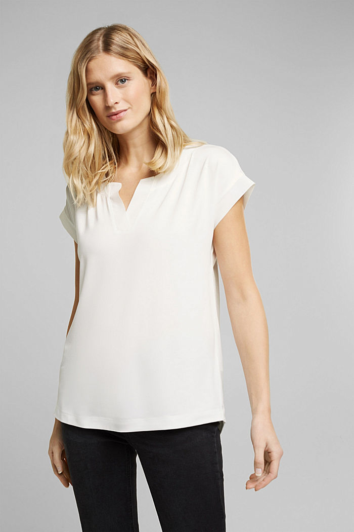 Lyocell blend T-shirt with chiffon details, OFF WHITE, detail image number 0