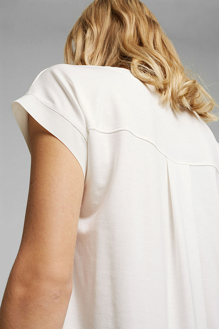 Lyocell blend T-shirt with chiffon details, OFF WHITE, detail image number 2