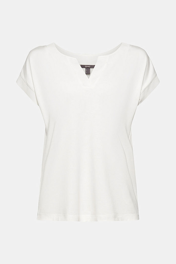 Lyocell blend T-shirt with chiffon details, OFF WHITE, detail image number 5