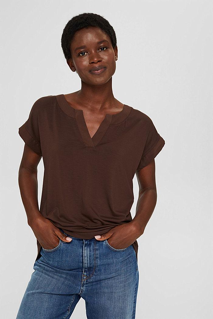 T-Shirt mit Lyocell und Chiffon-Details