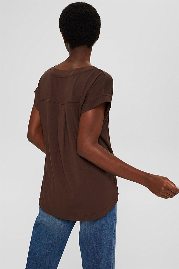 Lyocell blend T-shirt with chiffon details, DARK BROWN, detail image number 3