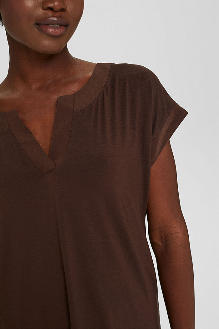Lyocell blend T-shirt with chiffon details, DARK BROWN, detail image number 2