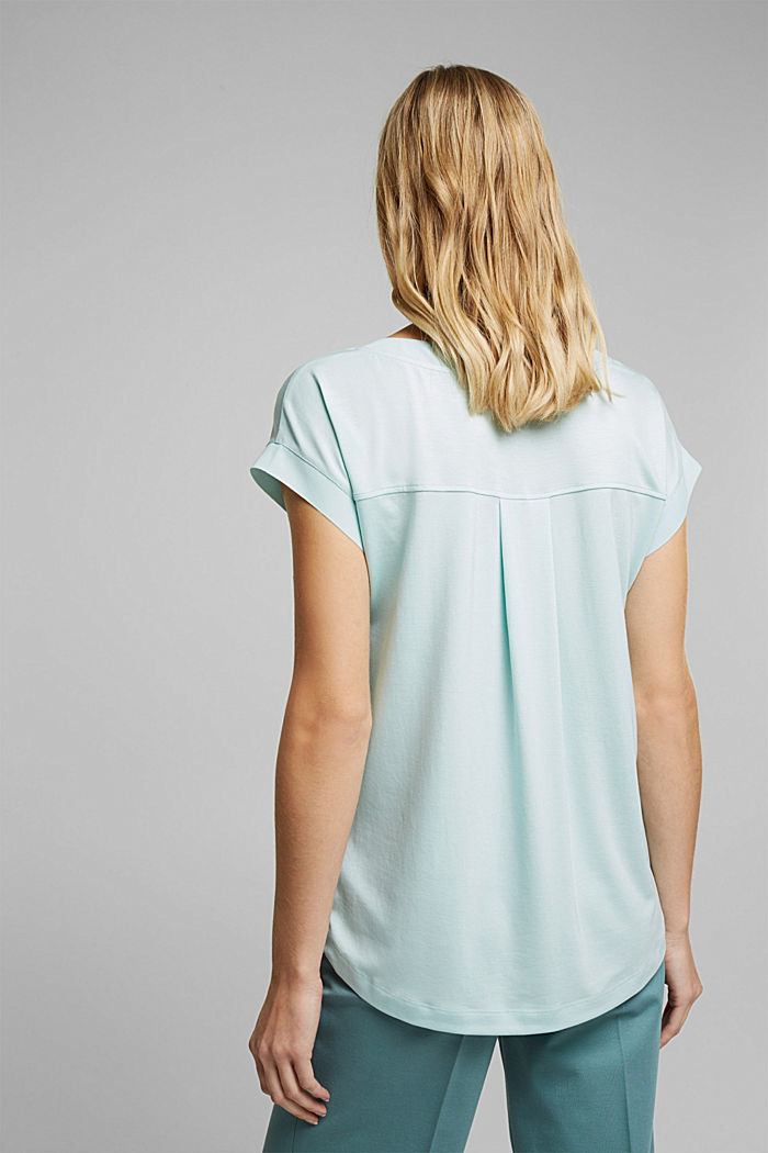 Lyocell blend T-shirt, LIGHT TURQUOISE, detail image number 3