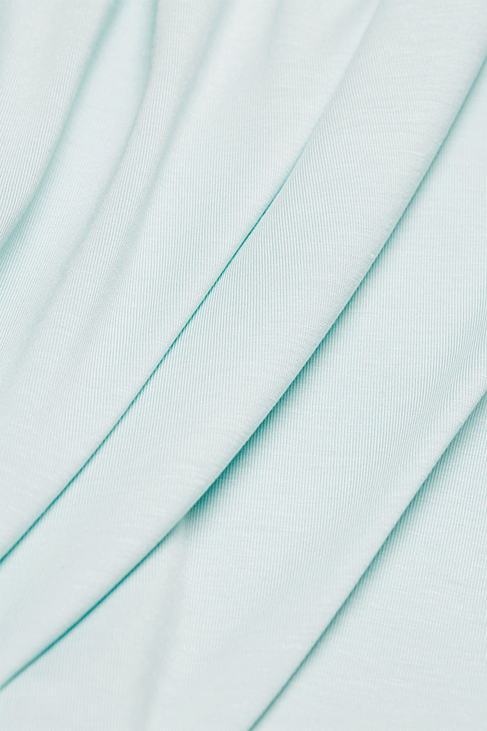 Lyocell blend T-shirt with chiffon details, LIGHT TURQUOISE, detail image number 4