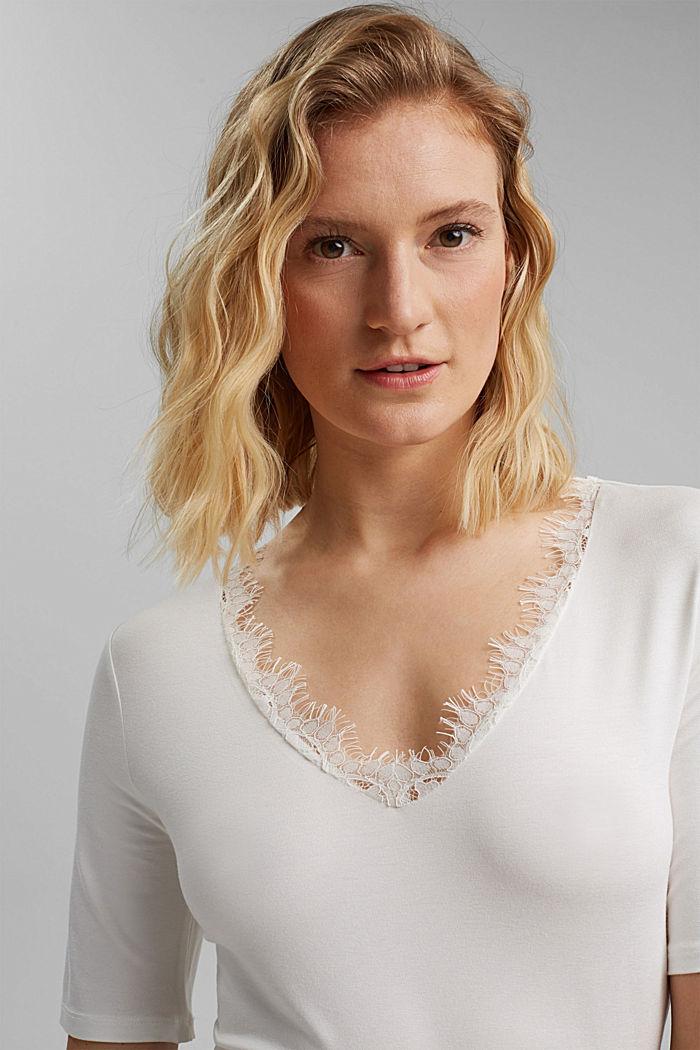 Jersey shirt met LENZING™ ECOVERO™, OFF WHITE, detail image number 3