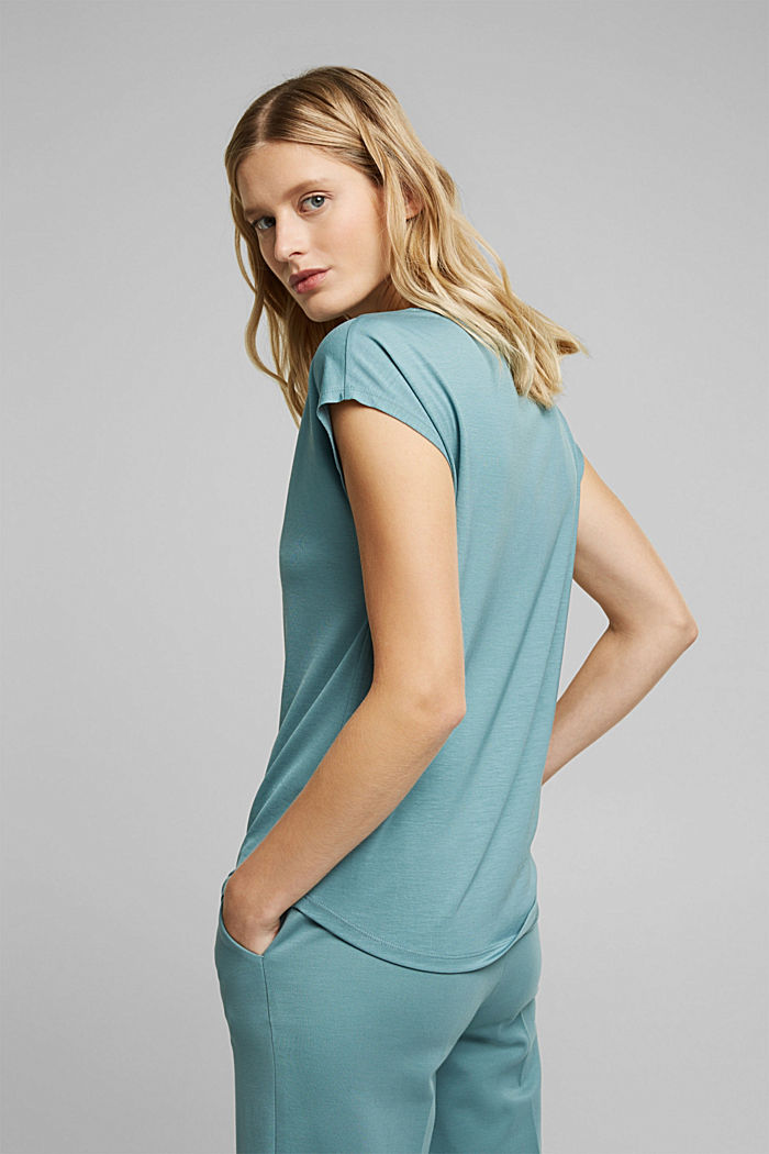 T-shirt made of 100% lyocell, DARK TURQUOISE, detail image number 3