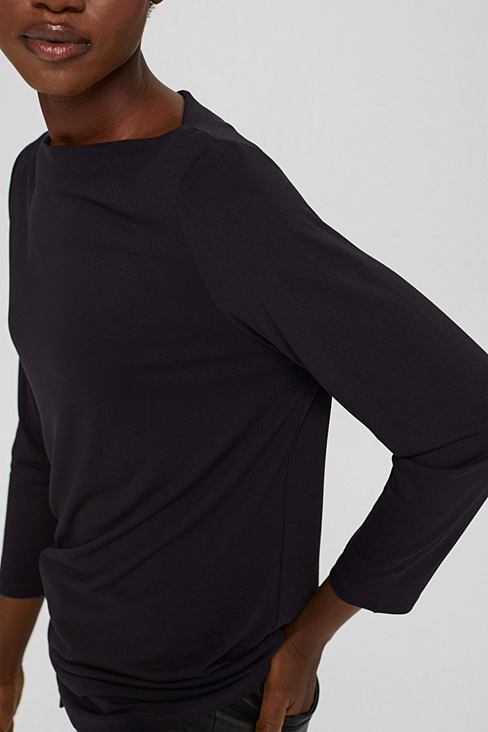 Maglia a manica lunga a barchetta in LENZING™ ECOVERO™, BLACK, detail image number 2