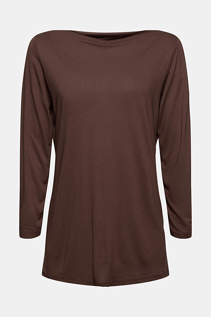 Camiseta de manga larga con cuello barco de LENZING™ ECOVERO™, DARK BROWN, detail image number 5