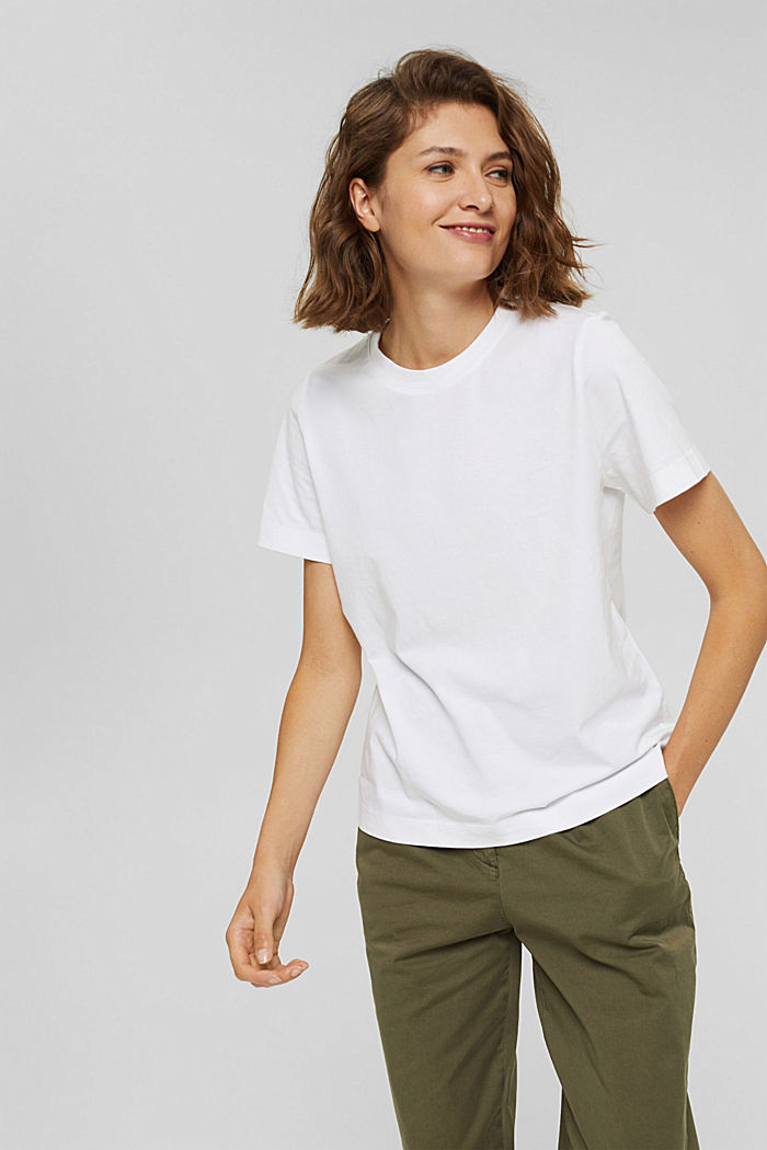 Basic T-shirt made of 100% organic cotton, WHITE, detail image number 0