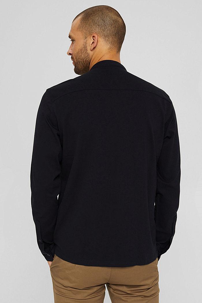 Piqué long sleeve top, mercerised organic cotton, BLACK, detail image number 3