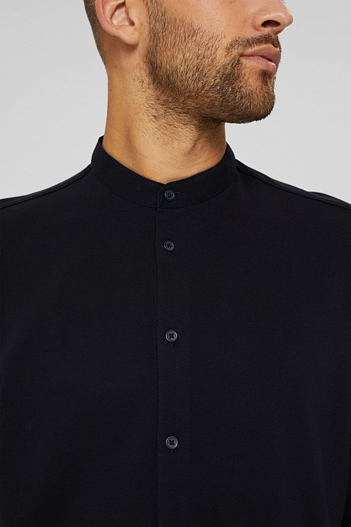 Piqué long sleeve top, mercerised organic cotton, BLACK, detail image number 1