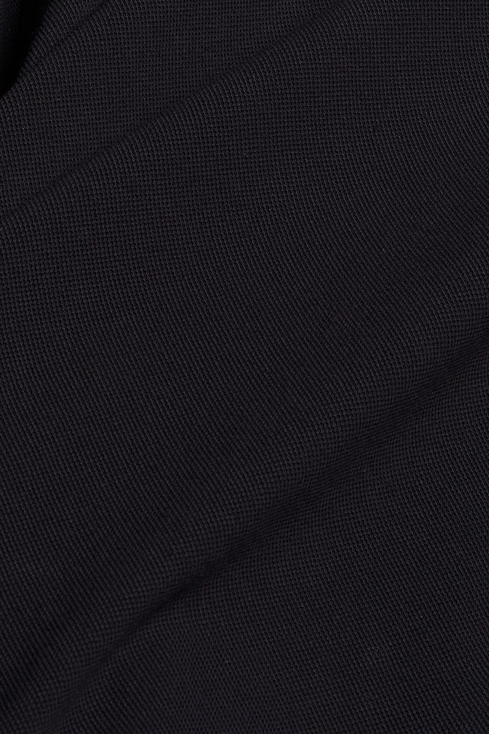 Piqué long sleeve top, mercerised organic cotton, BLACK, detail image number 4