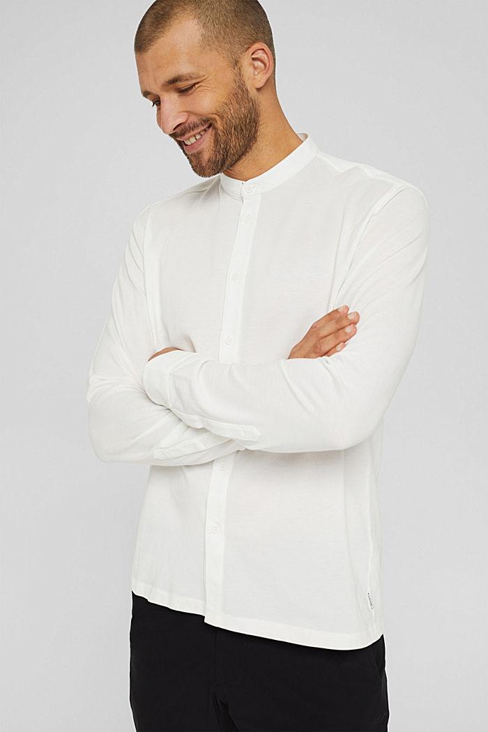 Piqué-Longsleeve, merzerisierte Bio-Baumwolle, OFF WHITE, detail image number 0
