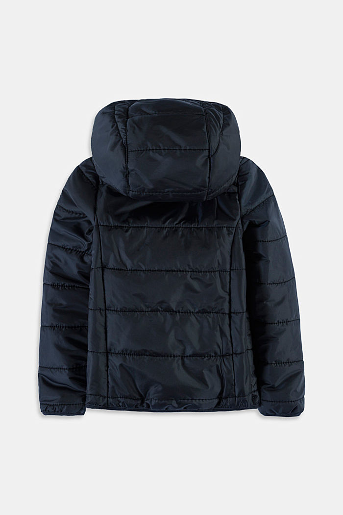 Quilted jacket with a hood, BLACK, detail image number 1