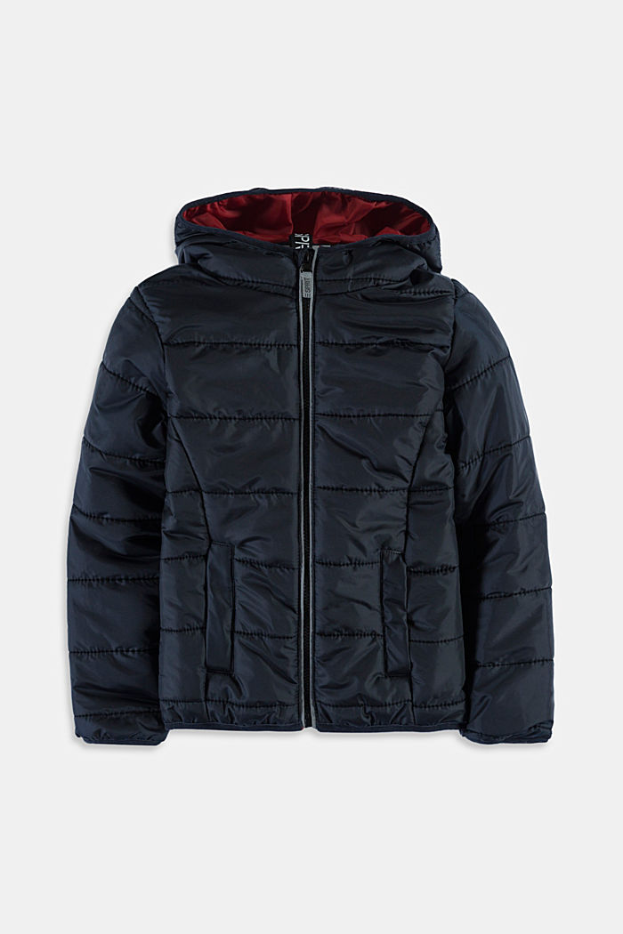 Quilted jacket with a hood, BLACK, detail image number 0