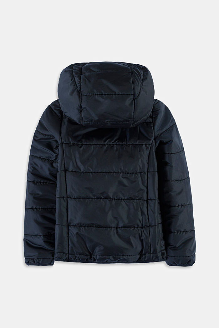 Padded quilted jacket with a hood, BLACK, detail image number 1