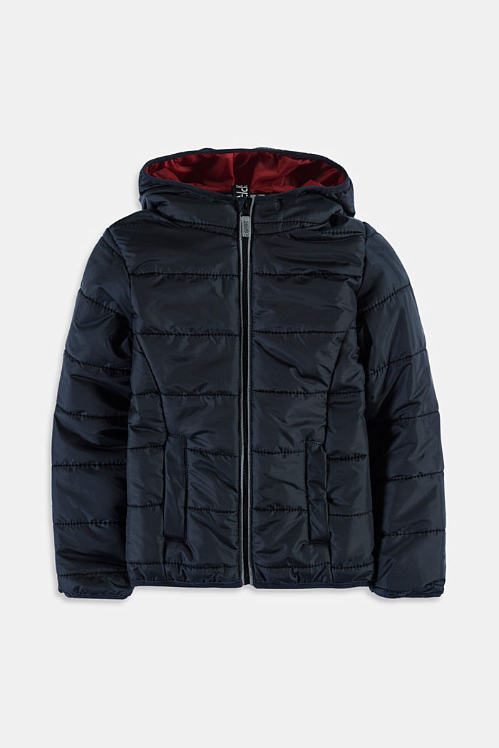 Padded quilted jacket with a hood, BLACK, detail image number 0