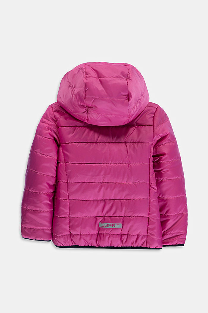Padded quilted jacket with a hood, PINK, detail image number 1