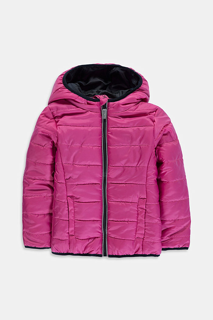 Padded quilted jacket with a hood, PINK, detail image number 0