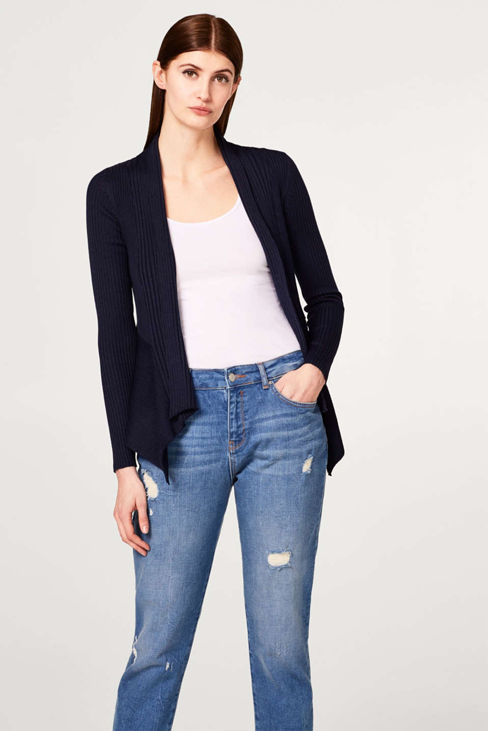 Esprit - Open ribbed cardigan in a fine knit
