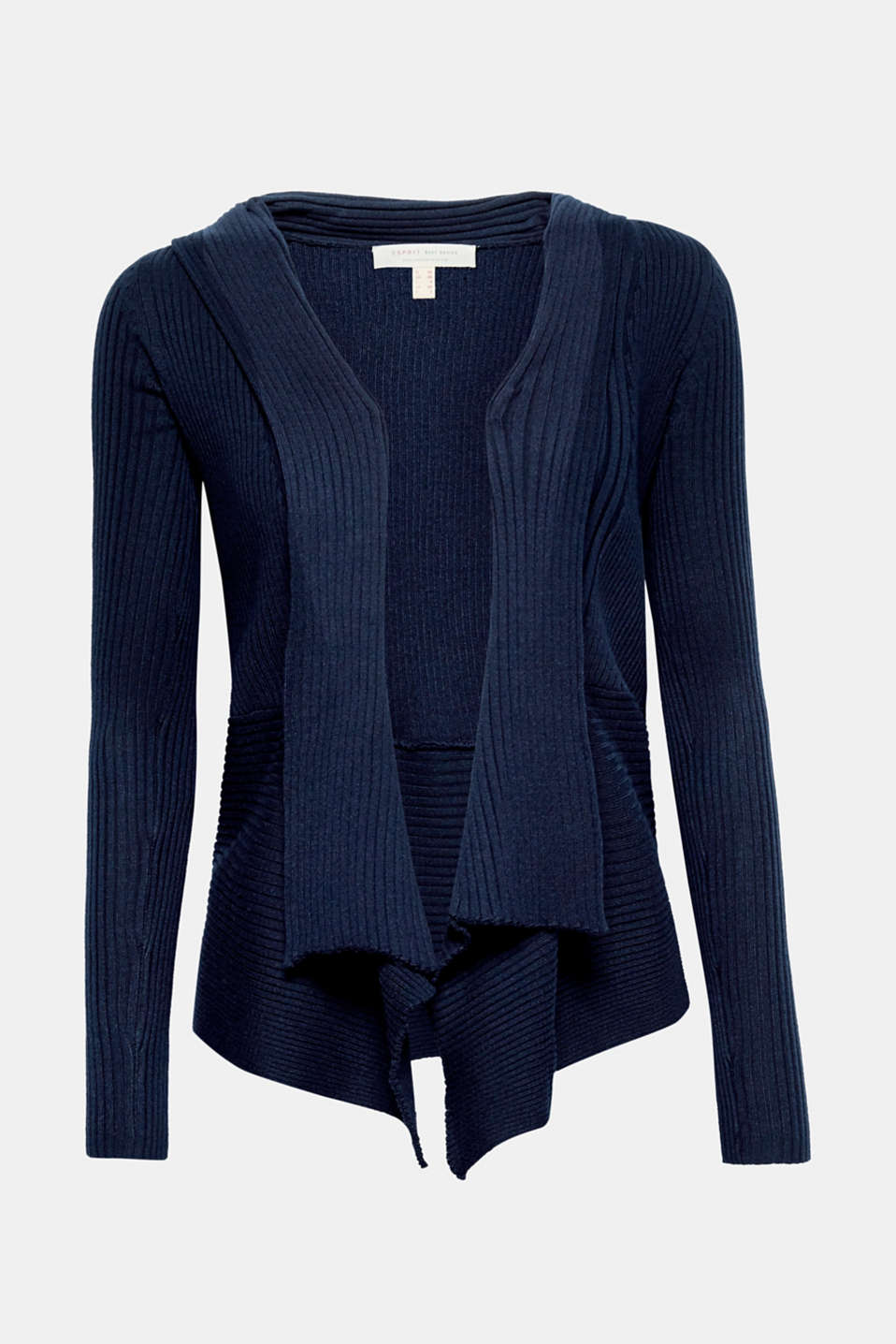 Open-fronted fine rib fine knit cardigan