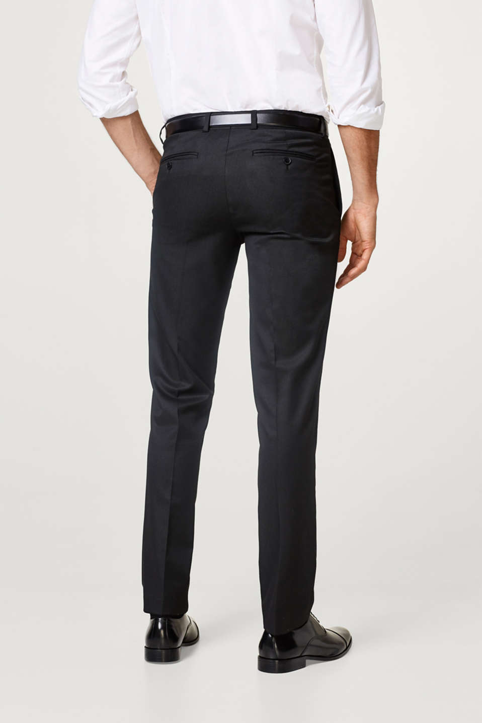Classic suit trousers + fine, textured pattern