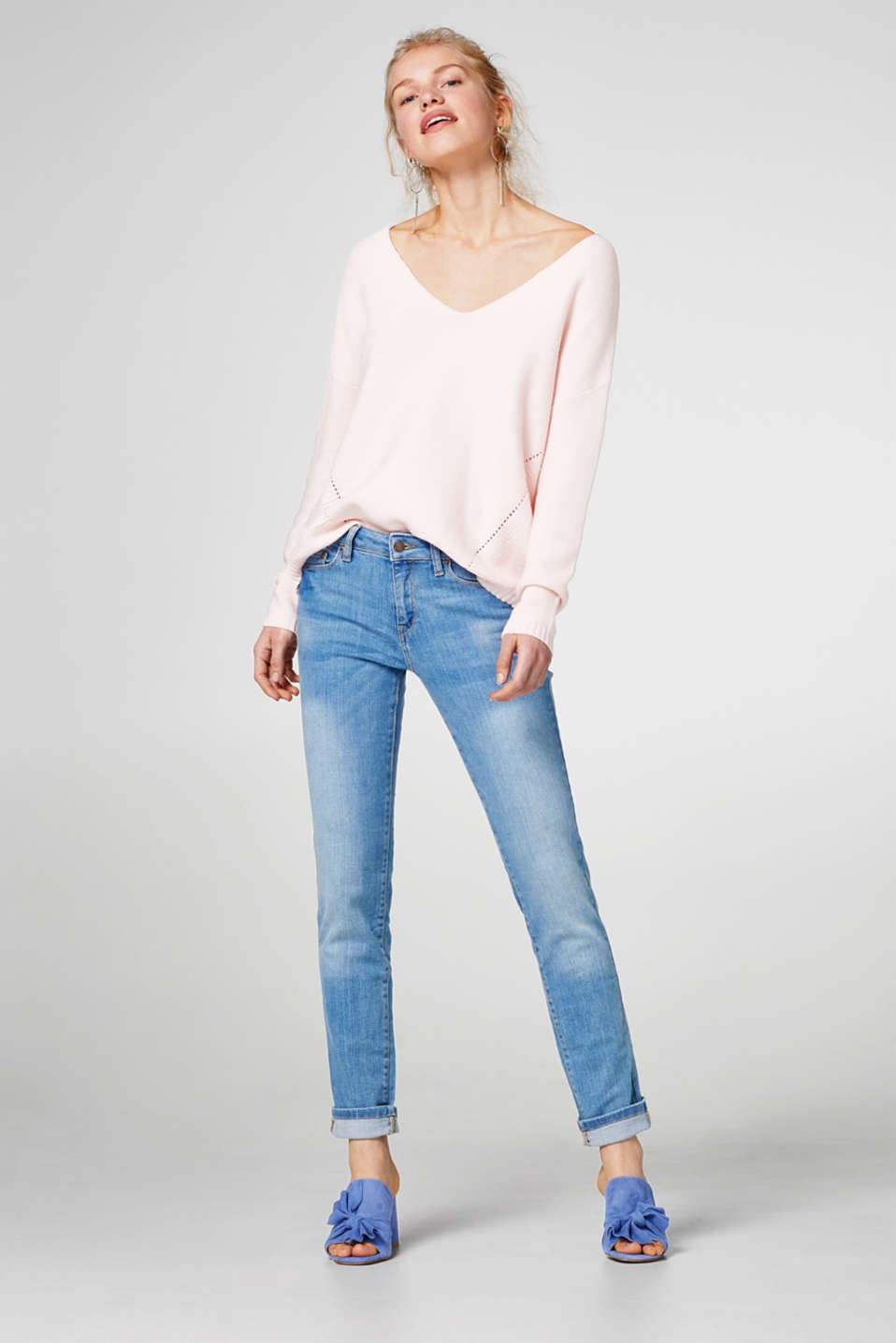 Pale stretch jeans in a five-pocket style