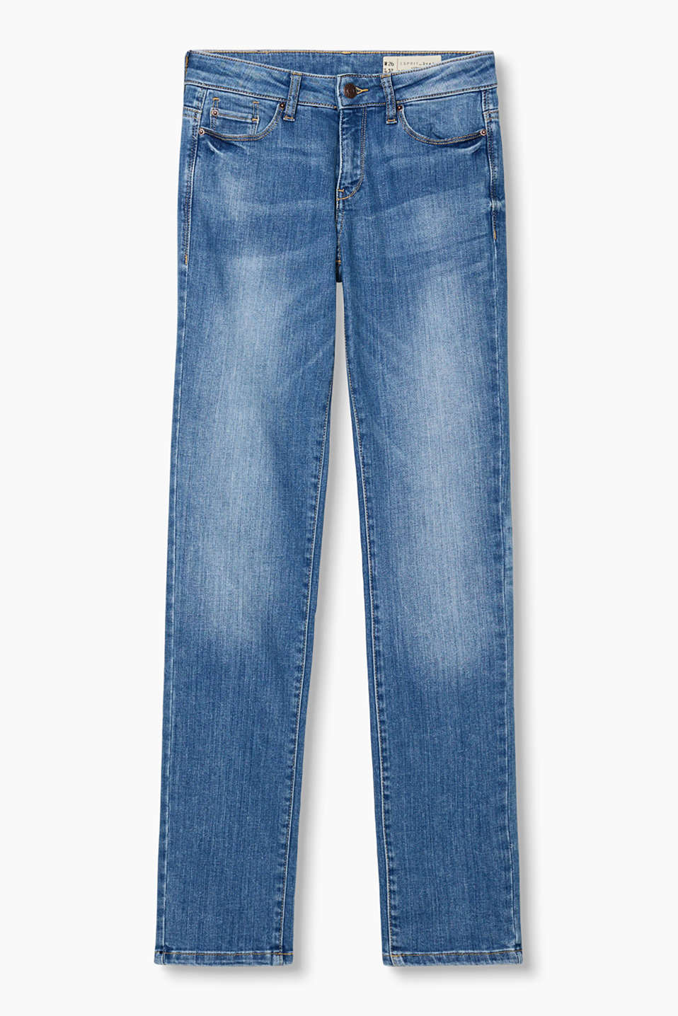 These straight cut stretch denim jeans in a five-pocket style and a pale wash create a fresh look!