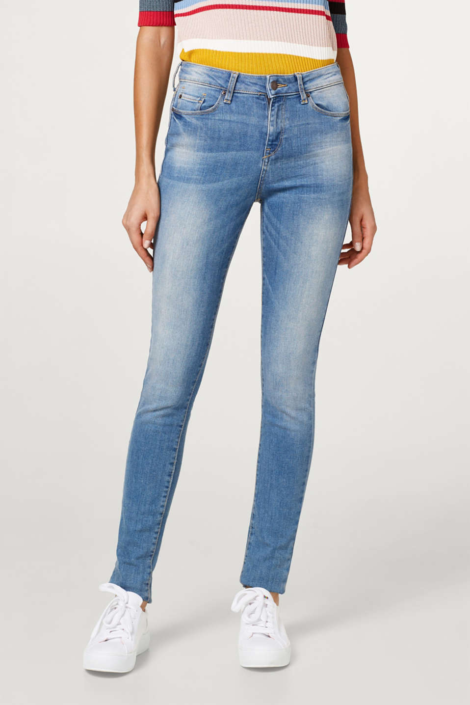 Esprit - High waist-jeans i afbleget denim