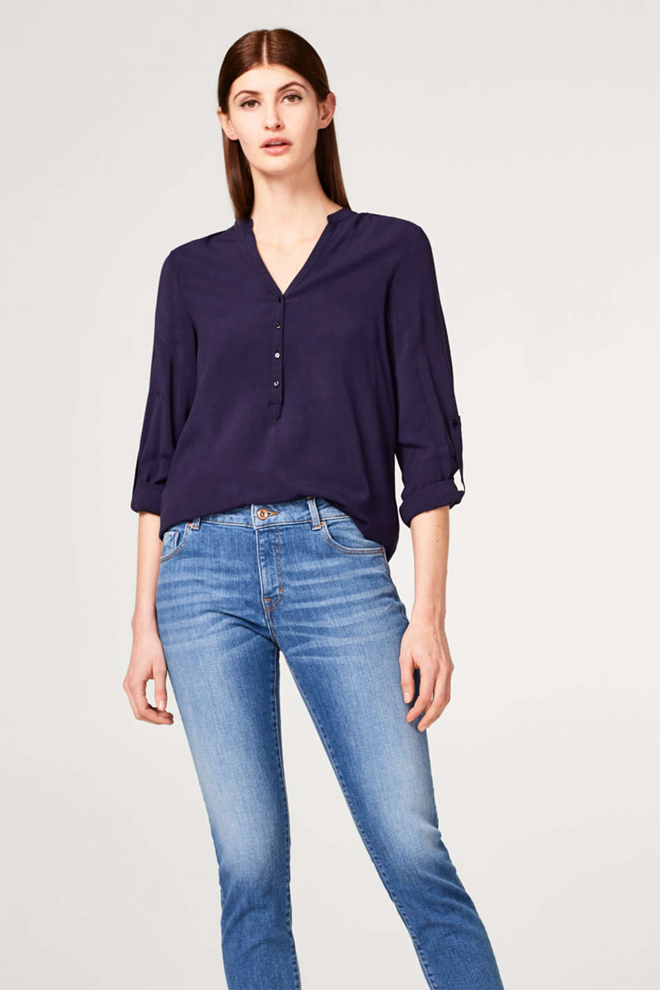 Esprit - Flowing turn up viscose blouse
