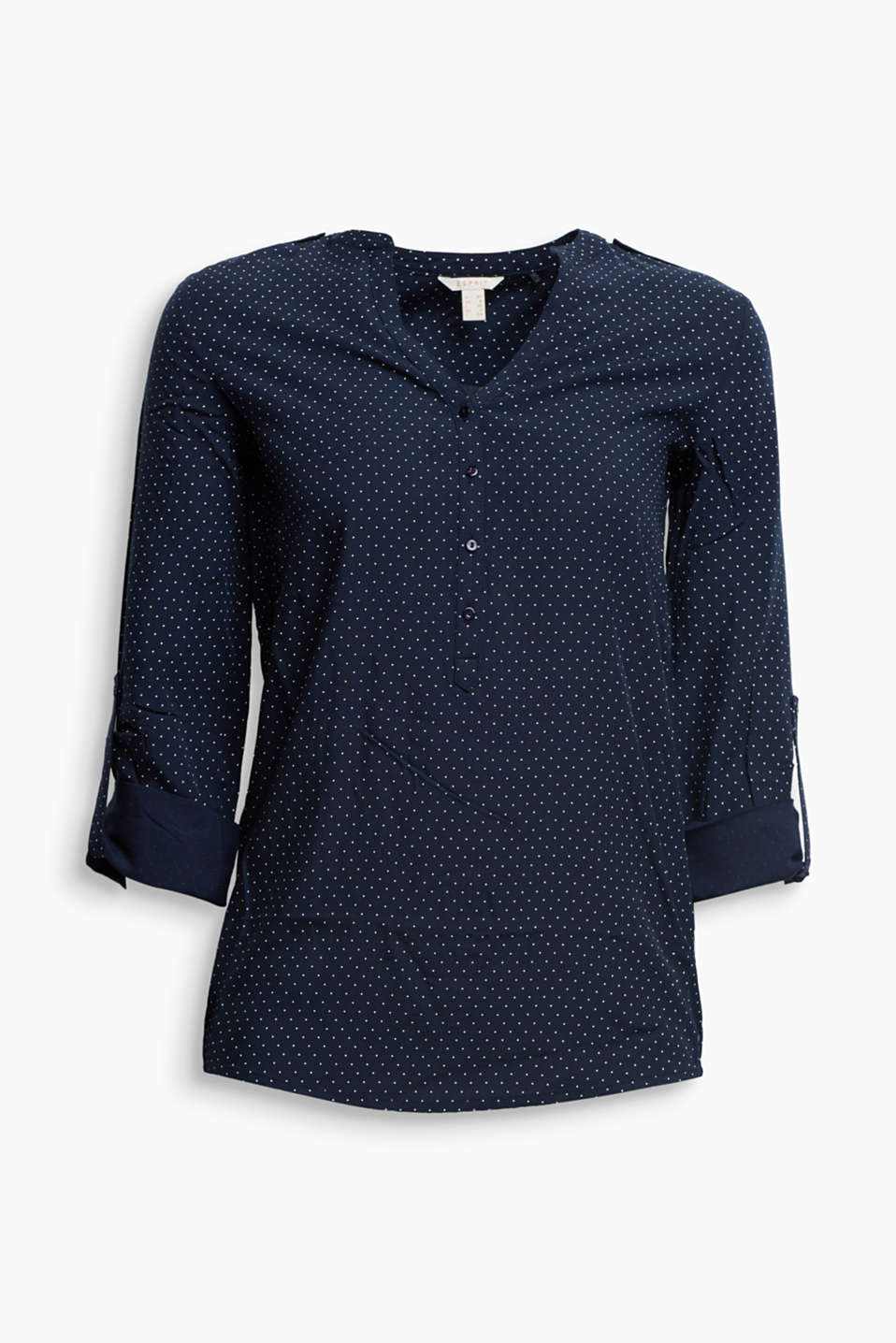 This flowing Henley blouse with a polka dot print and adjustable sleeve length is an indispensable essential.