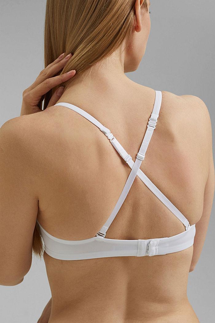Sujetador de aros con relleno y detalle de encaje, WHITE, detail image number 3