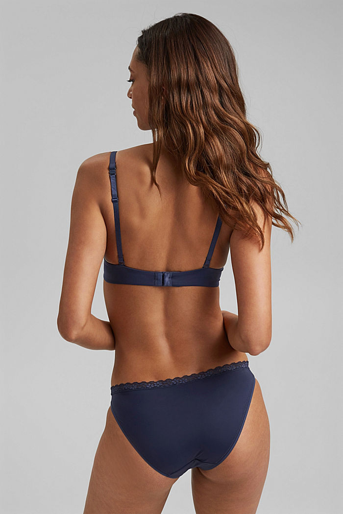 Padded underwire bra with a lace trim, HAPPY NAVY, detail image number 1