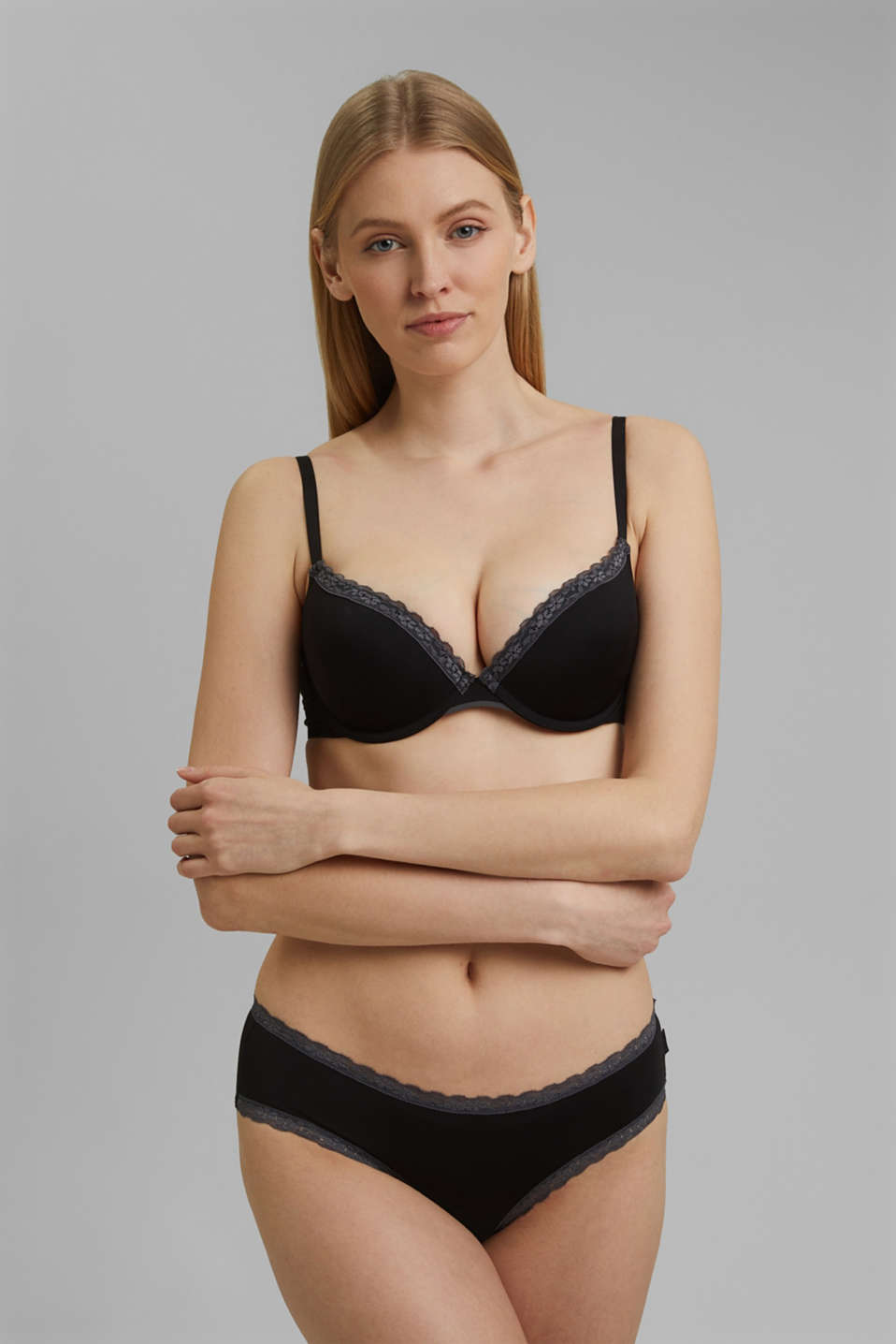 Esprit - Push-up bra with crocheted lace