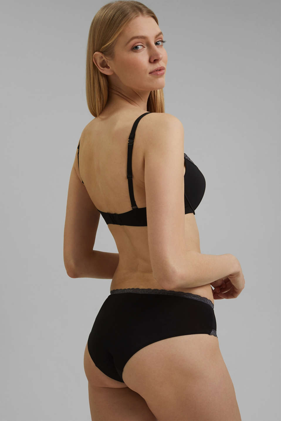 Push-up bra with crocheted lace, BLACK, detail image number 1
