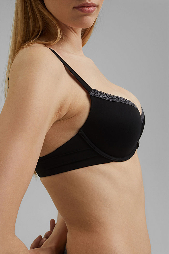 Push-up bra with crocheted lace, BLACK, detail image number 2