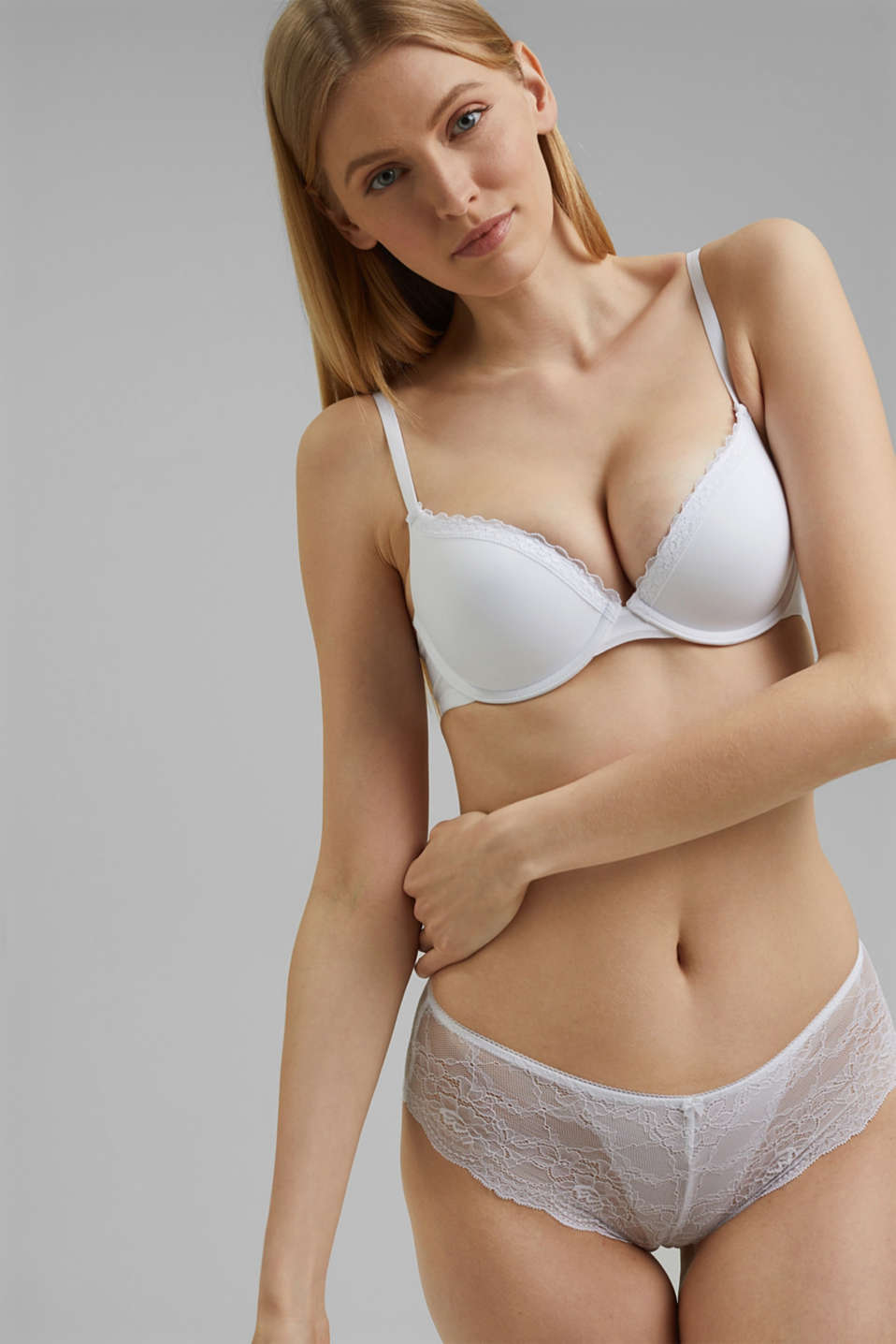 Push-up bra with crocheted lace, WHITE, detail image number 0